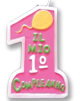 Candela 1 Compleanno Rosa Ca400
